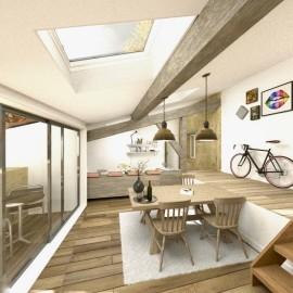 Plateau de 65 m2 avec balcon dans immeuble en pierre rénové, Bordeaux Pey Berland